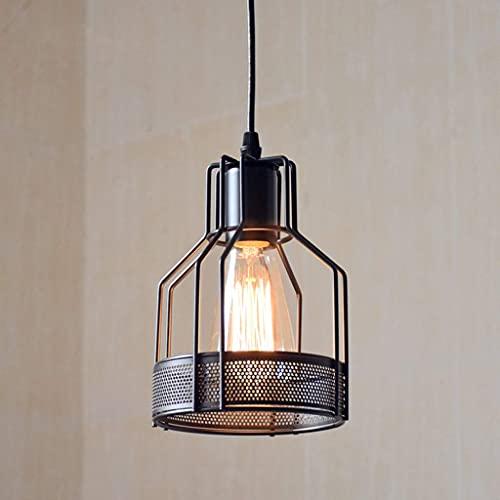 HTZ-M Lámpara Colgante Retro de Hierro Forjado, candelabro de Jaula de Metal Industrial Loft Bar Lámpara Colgante Oficina Cocina Restaurante Hotel Negro 15cm