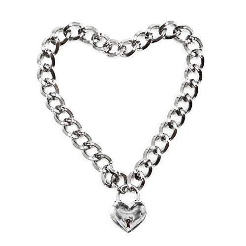 Aisoway Frauen Punk kühle Halsband Slave Spiel Pet Halsband Heart Shaped Padlock Metall Halskette