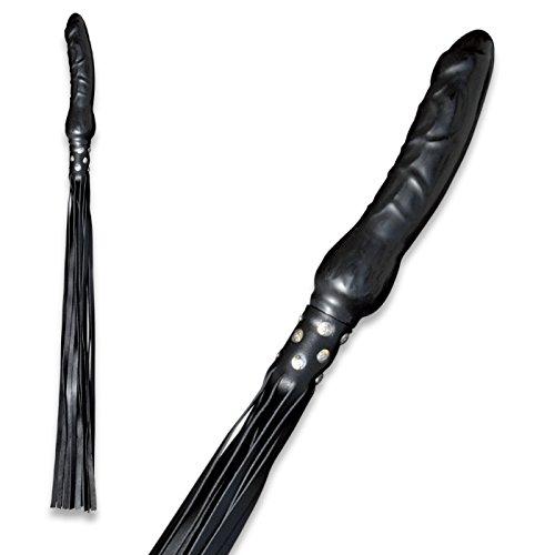 Bondage echt Leder Peitsche mit 100% Latex Dildo Penis Griff - High Qualty