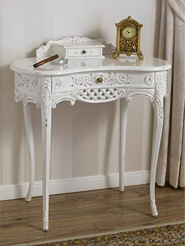 SIMONE GUARRACINO LUXURY DESIGN Consolle Kendra tavolino 2 cassetti Stile Shabby Chic Bianco Anticato