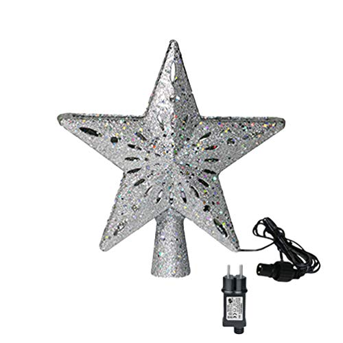 Christmas Tree Toppers Decoration Star Projector Light Glittering LED RGB Hollow Out Star Shape Projector Indoor Xmas Festival Party Gift Silver star(Stripe RGB eu) 250 * 270MM