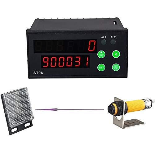 YJINGRUI Digitaler LED-Zähler Infrarot-Lichtschranke Reflektor für automatisches Förderband 6 Digits 0-999999 Induktionsabstand 2m (100-240 VAC)