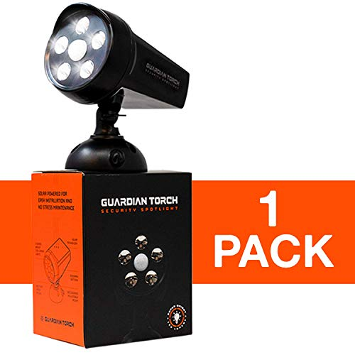 GUARDIAN TORCH - Home Security Spotlight (1 Pack) Solar Powered - 120° Motion Sensor - IP65 Water Resistant Outdoor Floodlight - 5 Bright LED Lights - Dusk to Dawn