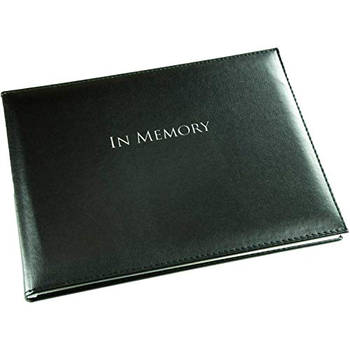 In Memory Sympathy Book - Black - Funeral Guest Book - Memorial Book - Presentation Boxed - (LARGE SIZE - Width 10.5 inch - Height 7.6 inch - Depth 0.6 inch)