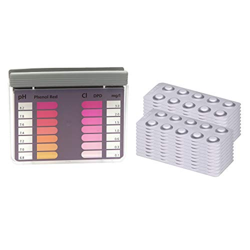 POWERHAUS24 Wassertester für Chlor und pH Wert mit 200 Reagenztabletten je 100 x Chlor DPD1 und 100 x pH Phenol Red