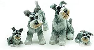 Grandroomchic Animal Miniature Handmade Porcelain Statue Schnauzer Dog Family Figurine Collectibles Gift