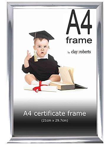 Clay Roberts Bilderrahmen A4, Silber, Fotorahmen für Zertifikate, Dokumente und Fotos