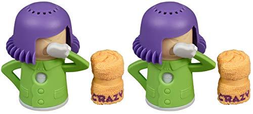 2x Mikrowellen Reiniger Crazy Mama mit 2x Mikrofasertuch | 2x Dampfreiniger für Mikrowelle und Backofen| 2x geniale Küchenhelfer & Reiniger Küche | Kühlschrank Geruchsentferner