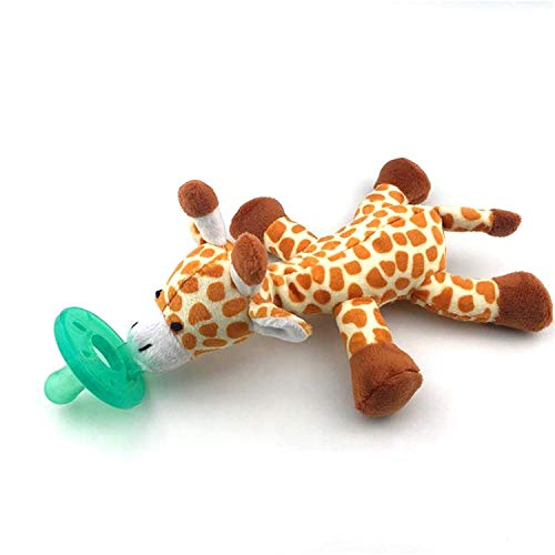 JnJ Infant Baby Plush Animal Attached Pacifier Toy  Giraffe