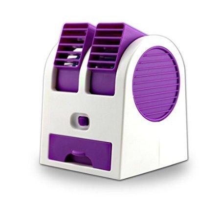 Mini condizionatore portatile (versione del 2016), doppio flusso, senza pale, perfetto per esterni, funziona a batteria o tramite presa USB Purple