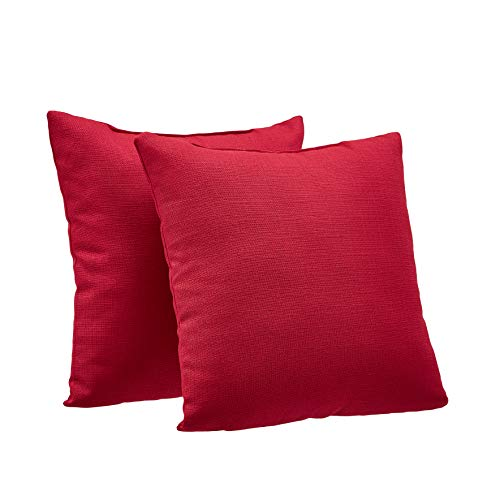 Amazon Basics 2-Pack Linen Style Decorative Throw Pillows - 18' Square, Classic Red