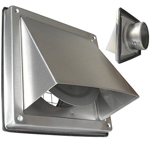 Roestvrijstalen afzuigkap ventilatie van de afzuigkap Ø 100 mm met terugslagklep met rubberen achterklep. Beschermrooster. Voor de buitenmuur Model: SUA100C