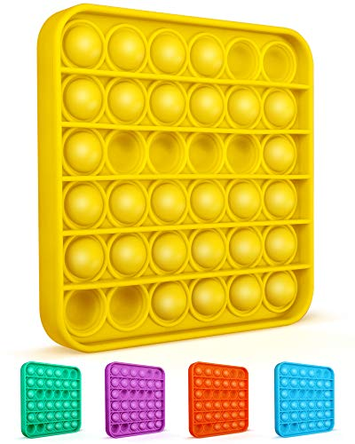 Colplay Pop Pop Fidget Toys,Push Pop Bubble Fidget Sensory Toy,Autism Special Needs Silicone Stress Relief Toy,Great Fidget Toy Sensory Toys Novelty Gifts for Girls Boys Kids Adults(Yellow-Square)