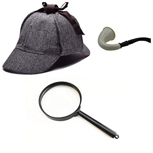 thematys Sherlock Holmes Deerstalker Alter Mann Viktorianisch Mütze + Pfeife + Lupe Detective Detektiv Kostüm-Zubehör Kostüm-Set - perfekt für Fasching & Karneval Einheitsgröße (Style 2)