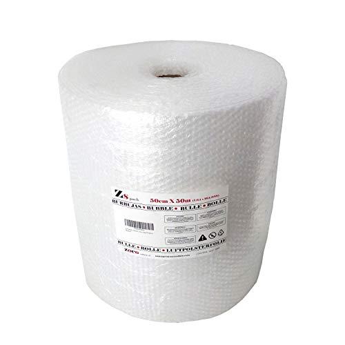 ZS PACK - Rollo de Plastico de Burbujas Para Embalar de 50 cm de Anchura x 50 Metros Largo - 25 m2 de Papel Burbujas Transparente [Triple Capa & Burbuja Densa - 1cm]