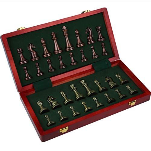 Juego de Ajedrez Ajedrez internacional de metal con tablero de ajedrez de madera plegable y tragamonedas de almacenamiento de ajedrez para regalo Family Party juego Juego de Mesa ( tamaño : 30cm )