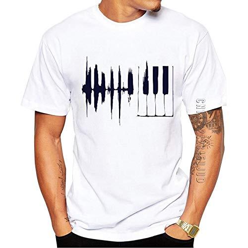 Qier Tshirt Herren Grafische Kurzarm-Oberteile, Lustiges Einfaches T-Shirt, Musikinstrumentendruck, Weiß, XL
