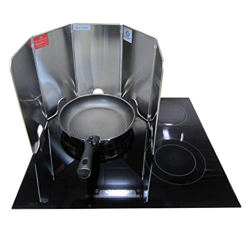 Splatter Guard for Cooking - Grease Splatter Screen - 5 Sided Splatter Guard Compact Type - Stainless Steel - Unfold 41.65 in x 14.17 in - Fold 8.26 in x 14.17 in x 1.06 in