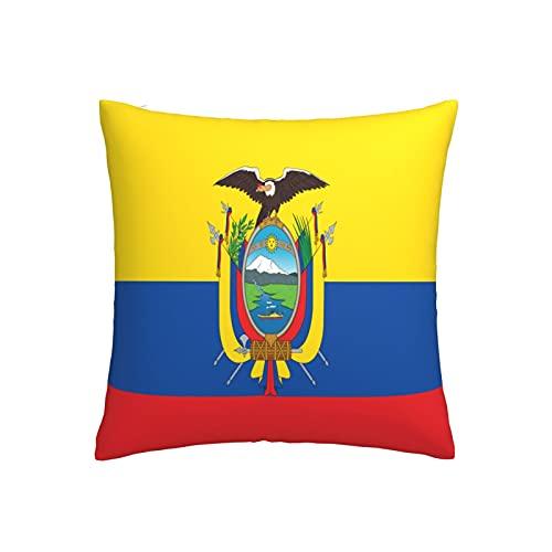 Kissenbezug mit Flagge von Ecuador, quadratisch, dekorativer Kissenbezug für Sofa, Couch, Zuhause, Schlafzimmer, Indoor Outdoor, niedlicher Kissenbezug 45,7 x 45,7 cm