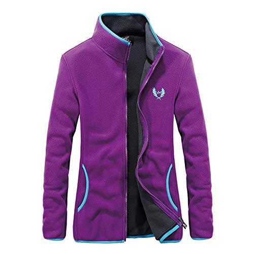FEOYA Jacke Outdoor Fleecejacken für Unisex Outdoor Herren Strickfleecejacke Damen Winter Jacke Sport Freizeitjacke Full Zip Jacke-Frau(Lila)-L