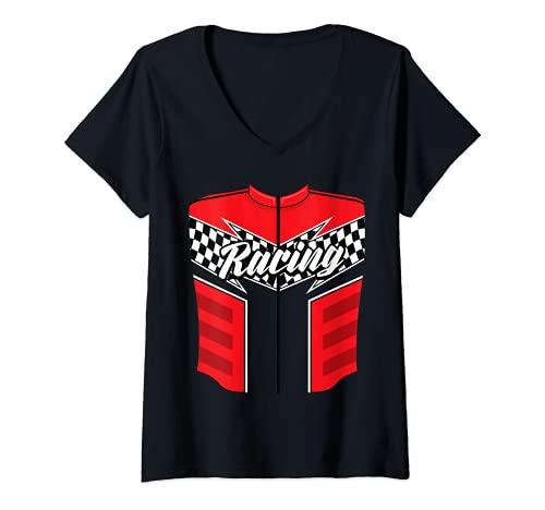 Mujer Disfraz de chofer de coche de carreras de Halloween Drag Racer regalo Camiseta Cuello V