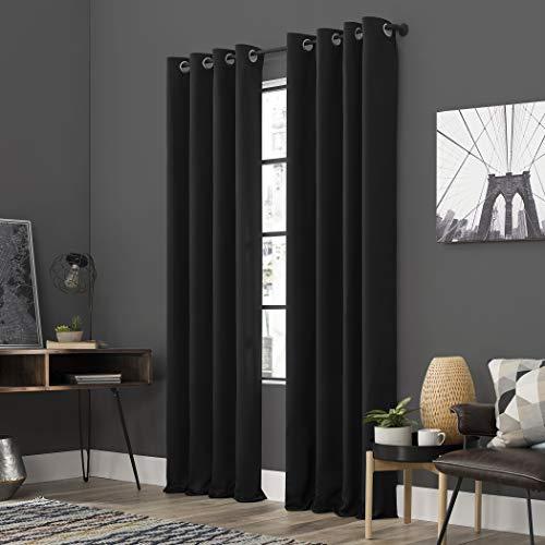 "Sun Zero Soho 2-Pack Energy Efficient Blackout Grommet Curtain Panel Pair, 54"" x 63"", Black"