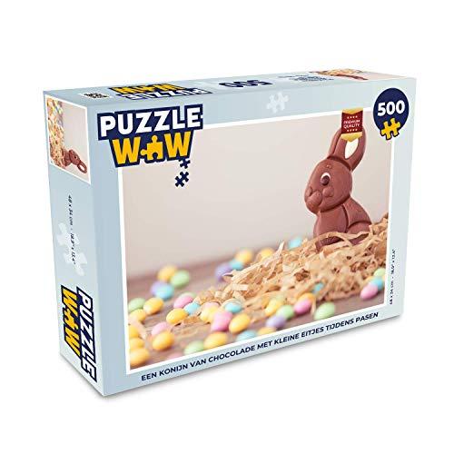 Puzzel 500 stukjes Pasen - Een konijn van chocolade met kleine eitjes tijdens Pasen - PuzzleWow heeft +100000 puzzels - legpuzzel voor volwassenen - Jigsaw puzzel 48x34 cm