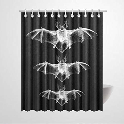 DONL9BAUER Duschvorhang, Fledermaus, Gothic, Halloween, wasserdicht, Badewannen-Dekor mit Gleitring-Haken für Badezimmer, Küche, Heimdekoration, 150 x 180 cm