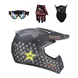 Lvguang Casco da Motocross per Fuori Strada 4PCS Set Unisex Adulto Casco Moto Cross & Maschera per Il Motociclista & Occhiali da Moto & Guanti per Moto (Nero#7)
