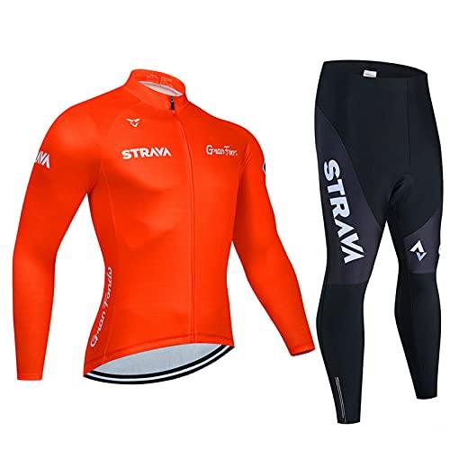 Abbigliamento Ciclismo Invernale Uomo, Tuta Bici Uomo Termico Maniche Lunghe Include Maglia Ciclista e Pantaloni MTB Elastici Termica per Bici da Strada e MTB (Rosso chiaro A,M)