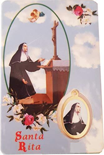 Desconocido Estampa RELIGIOSAS, con Medalla y oración en el Reverso en español, 5.5cm x 8,5cm (Santa Rita)