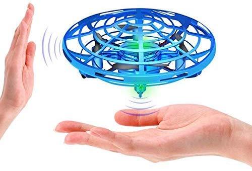3T6B Mini-Drones pour Enfants et Adultes, Jouet Boule Volante Contrôlé à la Main avec éclairage LED et Rotation à 360 °, Hélicoptère à Induction Infrarouge, Cadeaux pour Garçons et Filles (Bleu)