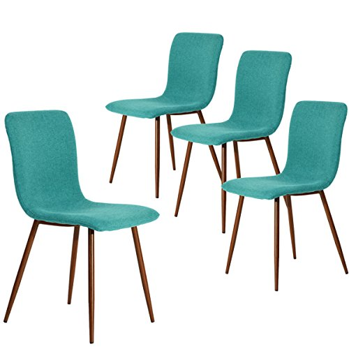 Coavas Dining Chairs Set of 4 Kitchen Chairs with Fabric Cushion Seat Back Modern Mid Century Living Room Side Chairs with Sturdy Metal Legs for Kitchen Dining Room,Green