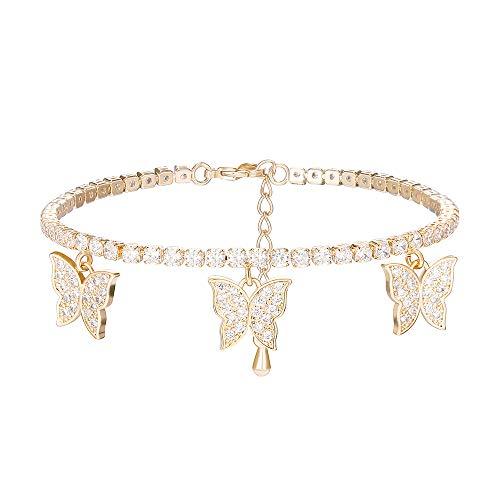 Bracciale tennis farfalla per donna, ciondolo bracciale da polso regolabile con catena placcata argento oro rosa con cristalli di zirconi (Placcato oro)