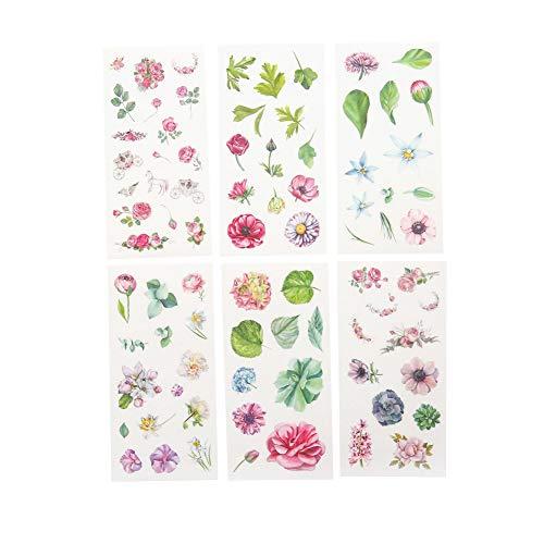 CAOLATOR 6 Blatt Mädchen Aufkleber Blumen Sticker Kinder Stickers aus Papier für Scrapbooking Stickerbuch Tagebuch Fotoalbum Notizbuch Kalender Dekoration