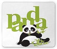 パンダマウスパッド、竹を食べるアジアの自然環境絶滅危ed種の漫画アート、標準サイズの長方形の滑り止めラバーマウスパッド、グリーンブラックホワイト