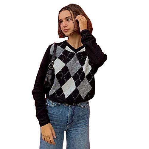 None/Brand Suéter para Mujer Jersey de Estilo Universitario Británico Otoño Invierno Cuello V Blusa de Lana de Moda a Cuadros Finos