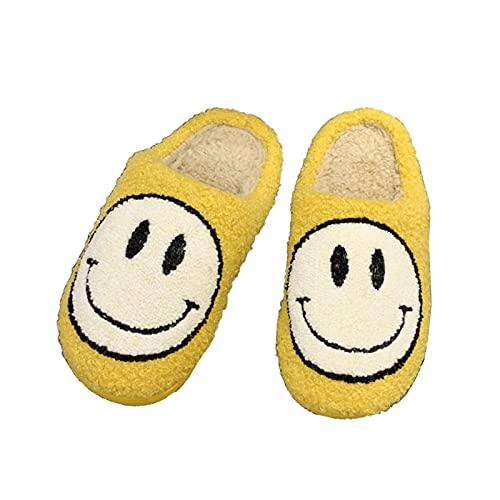 TGBV Retro Smiley Face Slippers, Soft Plush Comfy Warm Slip-On Slippers, Smiley Slippers for Women Men, Cozy Cute Home Shoes, Scuff Resistant Non-Slip Memory Foam Sole (Yellow,EU 39-40)