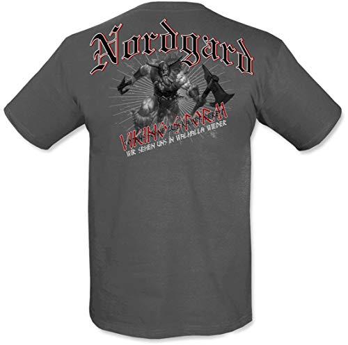 NORDGARD Shirt Walhall Wikinger Shirt für Damen und Herren des Modelabels, Grau, XL