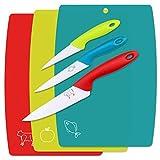 WELLGRO Juego de tablas de cortar (3 piezas, incluye 3 cuchillos, plástico...