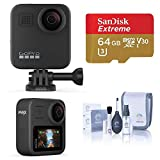 GoPro MAX Waterproof 360 Camera + Hero Style Video with Touch Screen, Spherical 5.6K30 UHD Video 16.6MP 360 Photos 1080p Live Streaming Basic Bundle with 64GB microSD Card, Cleaning Kit
