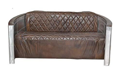 Casa Padrino Luxus Aluminium 3-Sitz Sofa Dunkelbraun - Art Deco Vintage Flieger Möbel