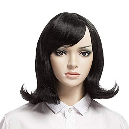 YOPO Wig, Short Wavy Black Wigs for Women, 16'' Cosplay Medium Length Wig(Black)