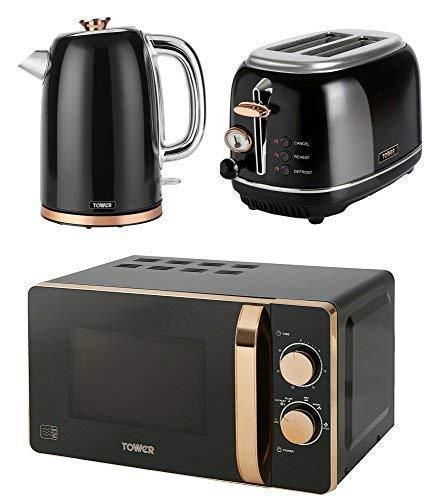 TOWER ROSE GOLD & BLACK Kitchen Appliance Retro Stylish Set - ROSE GOLD & BLACK Manual 20 Litre Microwave, 1.7 Litre Jug Bottega Kettle & Bottega 2 Slice Toaster