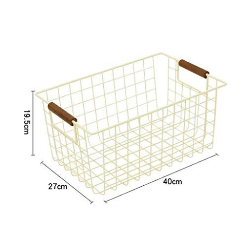GuanjunLI 1 x Aufbewahrungskorb aus Draht mit Griffen für Küche, Speisekammer, Gefrierschrank, Schrank Large weiß