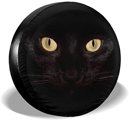MODORSAN Black Cat Eyes Cubierta de neumático de Rueda de Repuesto Cubiertas de Rueda universales de poliéster para Jeep Trailer RV SUV Accesorios de camión, 16 Pulgadas