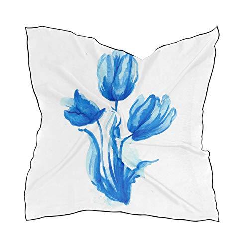 NaiiaN 60 × 60 CM Pañuelo en la cabeza Abrigos Chal Bufanda para mujer Damas Ligero Estampado Tulipanes Fácil Hermoso Caballo Cuadrado