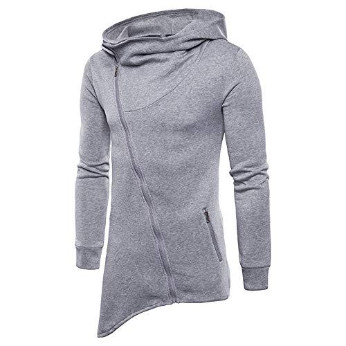 PRJN Mens Vest Hoodies New Casual Fashion Mens Hem Irregular Diagonal Zipper Sport t Shirt Mens Shirt Diagonal Zipper Mens Casual Slim fit Hooded Cardigan Sweater Mens top Long Sleeve