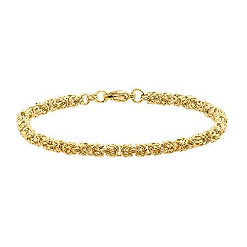 Heideman Halskette Damen Pars aus Edelstahl Gold farbend matt Armkette für Frauen Länge 21cm Königskette Panzerarmband