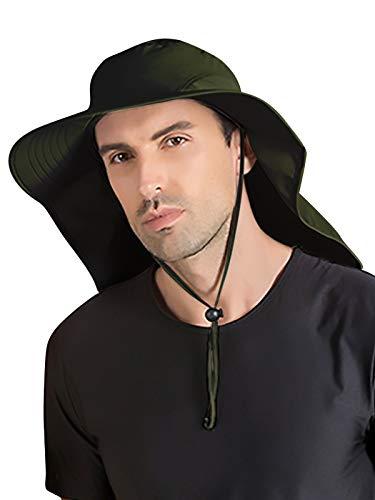 WANYING Unisex UV Schutz Sonnenhut mit 33cm Langem Nackenschutz 12cm Großer Krempe Hut für Outdoor Safari Angeln Camping Gartenarbeit - für Kopfumfang 56-60cm Einfarbig Armee Grün